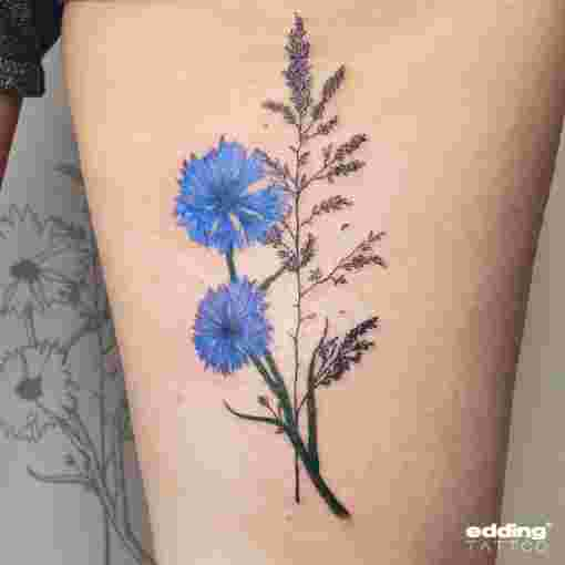 Tattoo Kornblume Mini Arm